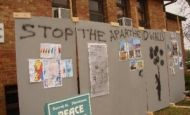 Apartheid wall exhibit at WMU