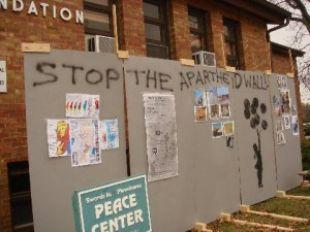 Apartheid wall exhibit at WMU