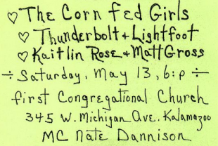 Corn Fed Girls & Friends Concert – Saturday, May 13, 6:00 pm – 1st Congregational Church